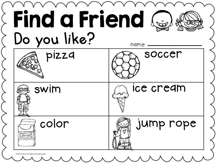 "Back to School activity. Find a Friend. Students ask ""Do you like? questions. Great getting to know your classmates at the beginning of the year for kindergarten children."