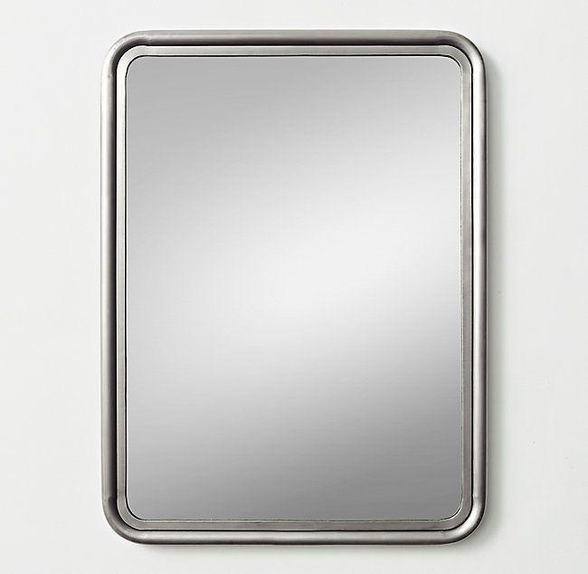 Rounded Edge Metal Trim Dresser Mirror Pewter Dresser With Mirror Metal Trim Mirror