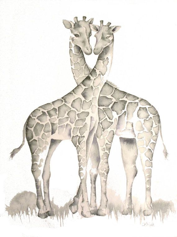 Giraffes in Love PRINT of my original by TheDailyWatercolor