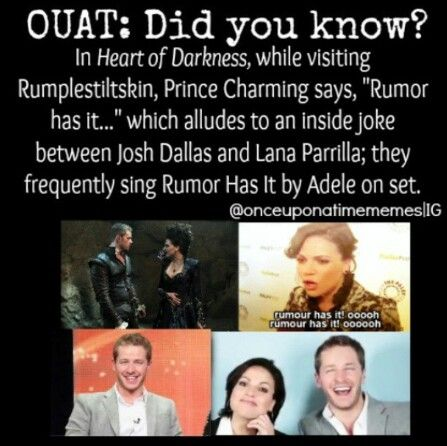"""Ha! I guess they did have some sort of reference to """"Rumor Has It""""! ((Josh said in a Season 1 interview that he would sing """"Rumor Has It"""" in season 3, jokingly))"""