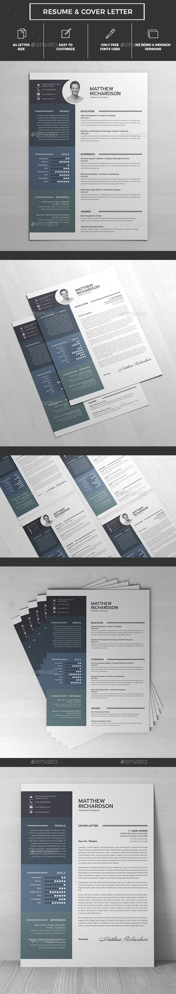 Resume A4 Template InDesign INDD, MS Word #design