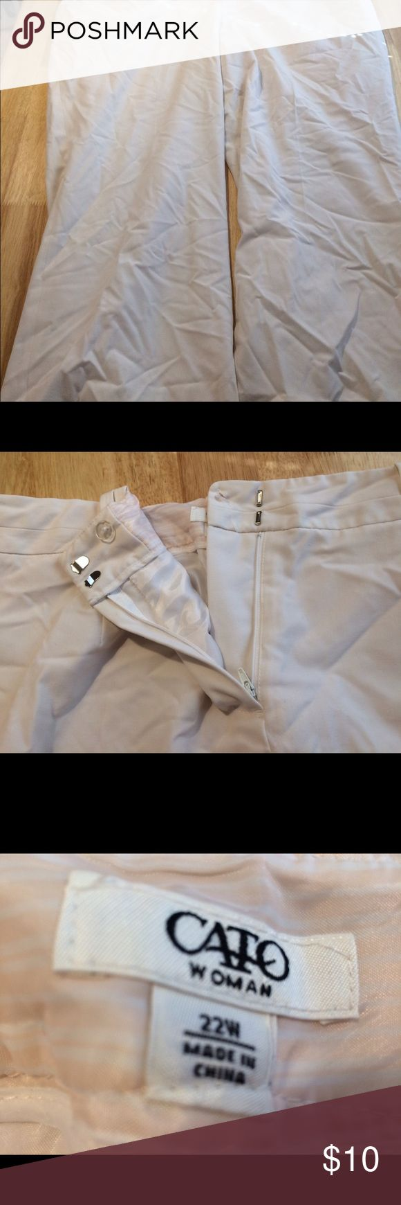 Gently used Cato Size 22W Dressy White Slacks Dressy white slacks good for any occasion. Slacks are in great shape but the lining is tore on the inside. You can't tell when you wear them. Gorgeous pants! Cato Pants Straight Leg