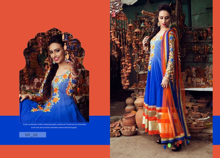 A fresh combination of blue shaded georgette anarkali suit.Thread and Zari embroidery at the neck area and fully embroldery sleeves with net dupatta. Product Code: MF_06 Price:$236 Mail: rangrezzfashions@gmail.com  #Fashion #Dress #Designersuites #NiceDesigns #Models #Beauty #colors #dresses #georgette #Red #Blue #goldzari #embroldery #sky-blue