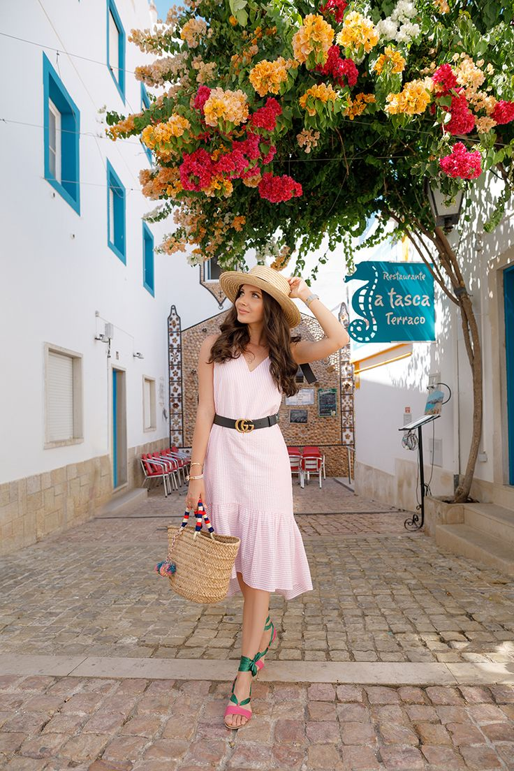 The cutest look I wore in Albufeira, Algarve with this pink striped dress and lace up sandals, here on my blog: http://larisacostea.com/2017/08/albufeira/