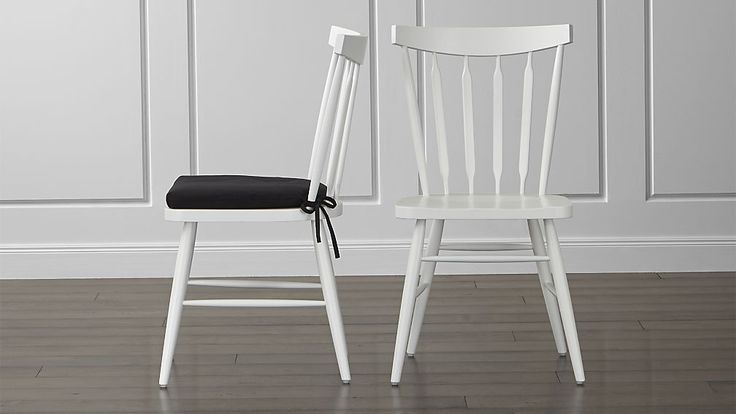 Willa White Wood Dining Chair and Cushion | Crate and Barrel