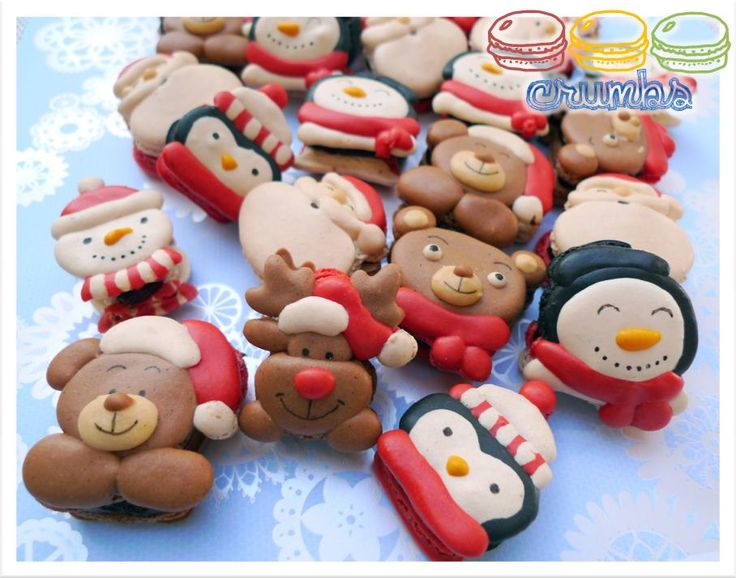 Photo: More Christmas cute macarons it is <3 Happy Thanksgiving!! I know its Thanksgiving, but somehow Christmas jingles are ringing in my head, LOL! Enjoy! Note: The macarons are 100% handpiped using macaron batter. Did