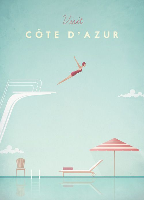 Vintage Cote d'Azur Travel Poster by Henry Rivers
