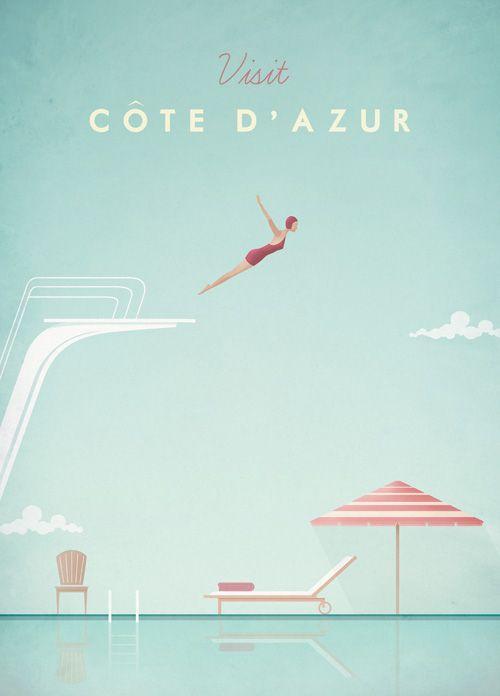 Vintage Cote d'Azur Travel Poster