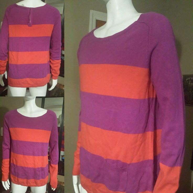 Womens Purple n Orange Ann Taylor Loft Sweater Blouse Top Size S NWOT Long Slv #AnnTaylorLOFT #Blouse
