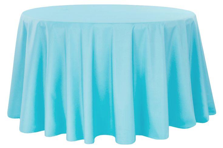"Polyester+108""+Round+Tablecloth+-+Aqua+Blue"