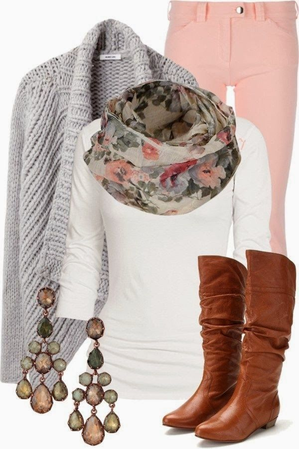 I NEED TO GET SOME PINK PANTS Cute fall collection flowry scarf pinkskinny and knitted cardi.