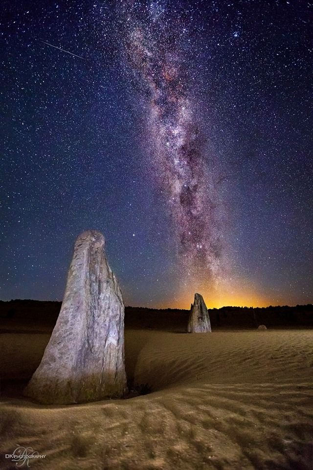 Milky Way at Midnight   The Pinnacles in Western Australia.   www.facebook.com/DK.Photography.com.au  Settings: 20secs, f/2.8, ISO 3200 with a Canon 5DMk3 & 16-35mm f/2.8 L lens This is one shot (not merged or HDR).   Photographer: Dale & Karlie DK PHOTOGRAPHY