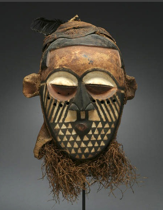 Africa | A Kuba/Kete mask from the DR Congo | Masks of this type, which roughly fall into the nup or nupa type are used in an initiatory context associated with manhood rites among the Southern Bushoong and Northern Kete.