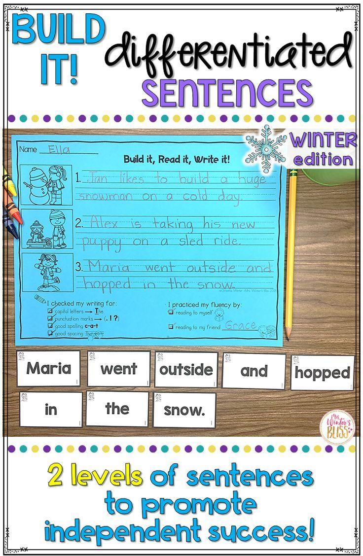 Sentence Building Center - Winter Edition | Pinterest