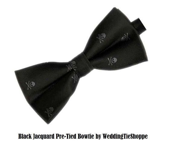 Black and Gray Skull Bow Tie Men's Wedding Pretied Bow