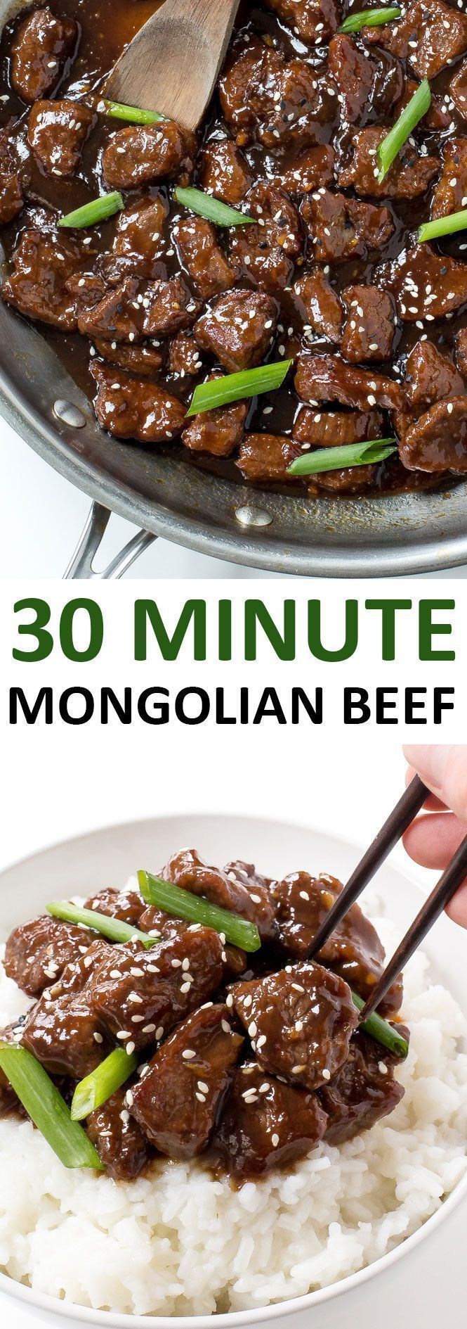 Amazing 30 Minute Mongolian Beef. Tender flank steak fried and tossed in a thick Asian inspired sauce. Way better than takeout! | Posted By: http://DebbieNet.com