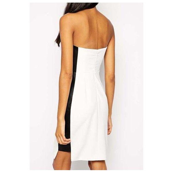 Vestido combinado en blanco roto y negro