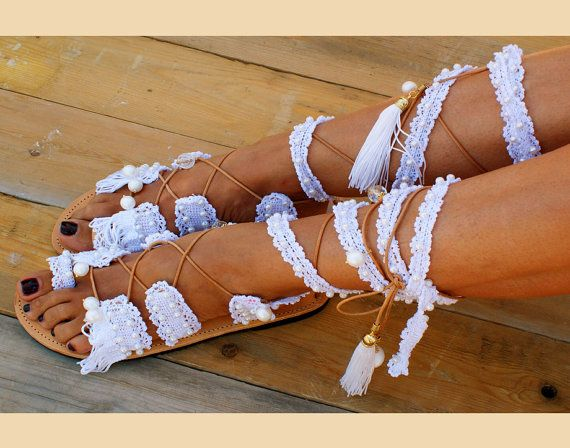 Beach Wedding Sandals/ Bridal Sandals/ Leather by magosisters