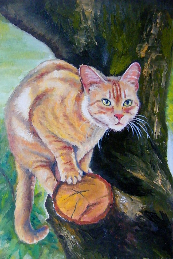 cat Filutek on a tree - oil painting