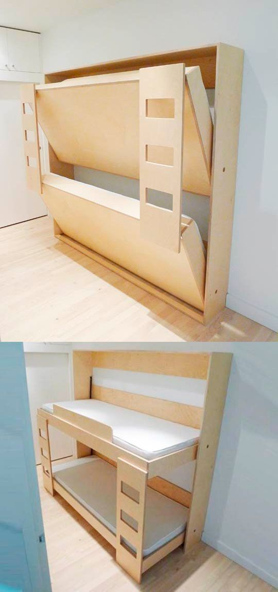 Murphy Bed – Bunk Bed. How cool! You could even paint the bottom of the beds. @ Home Improvement Ideas