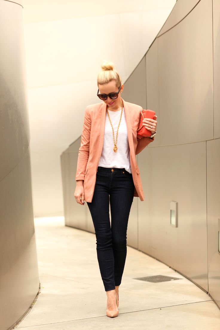 1000  ideas about Peach Blazer on Pinterest | Trouser jeans outfit ...