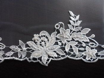 These are very good quality Beaded Lace Edgings and are suitable for trimming a wedding dress or veil.  Code A (First Picture), measures approx. 13 cm/5inches at its widest and is beaded with Pearls, Sequins and Glass Beads  Code B (Second Picture) measures approx. 11 cm/4.5 inches at its widest and is beaded with Glass Beads and Sequins  Code C (Third Picture) measures approx. 8 cm/3 inches at its widest and is a very delicate lace with Sequins and Pearls.  Code D (Fourth Pic...
