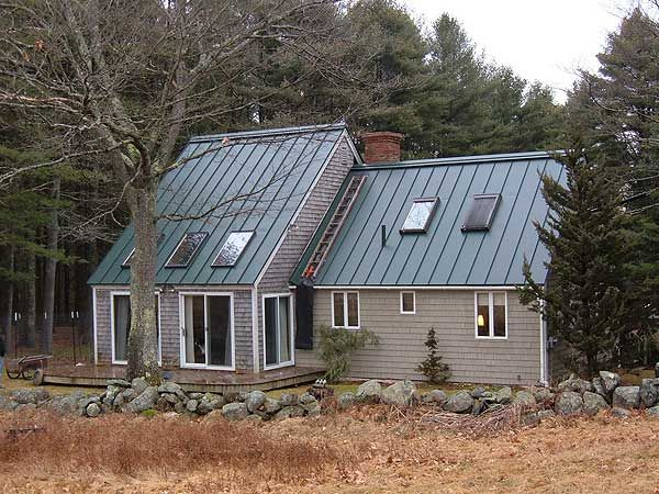 Green Standing Seam Metal Roofing Neutral Gray Beige