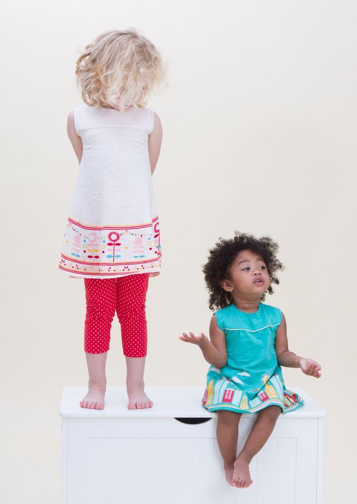 Lollipop Flower Dress & Red Polka Dot Leggings (left) and Story Time Dress in turquoise (right)