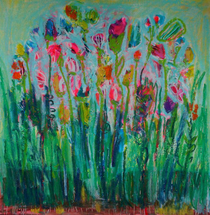 SOLD mixed media floral // Elizabeth Sargeant artist