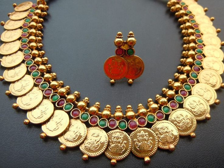 Traditional South Indian Set - Gold Plated  Colored Gems