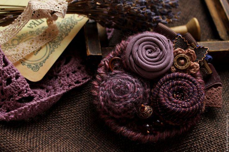 Купить Брошь текстильная Туманы - сиреневый, дымчато-сиреневый, брошь купить, брошь ручной работы