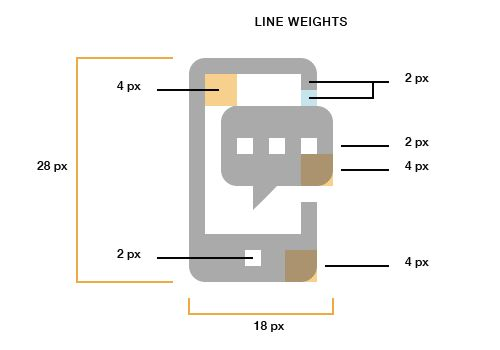iPhone icon demonstrating line weights