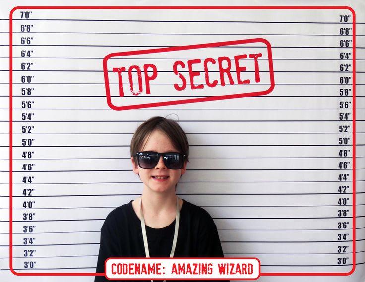 Spy Party Mugshot Backdrop | Top Secret Background | Printable DIY Template | INSTANT DOWNLOAD $4.50 via SIMONEmadeit.com
