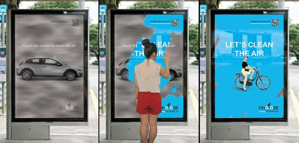 """Proposition: """"clean the air, ride a bike"""" Target Market: demographic- men and women aged 21-35 psychographic- people who drive everywhere. geographic- urban Techniques 1. the contrast of the gray to blue is effective. 2. the answer to a problem is provided. 3. the ad gives the audience a chance to solve the problem. Effective because the audience has a chance to take action within the ad then in the community."""