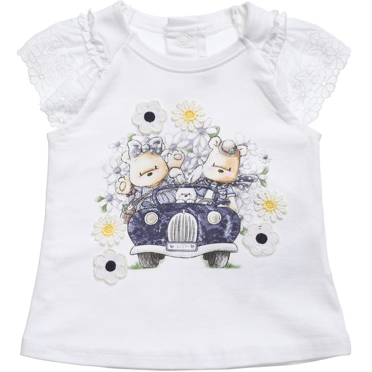 Baby girls white, stretch cotton jersey t-shirt byMayoral Chic with a cute teddy bear motif on the front, In a semi-fitted style, it has pretty broderie anglaise sleeves and fastens at the back of the neck with poppers. <ul> <li>100% soft cotton</li> <li>Machine wash (30*C)</li> </ul>