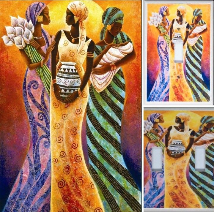 Sisters Of The Sun 8 X 10 Canvas Art And Afrocentric Light Switch Plates