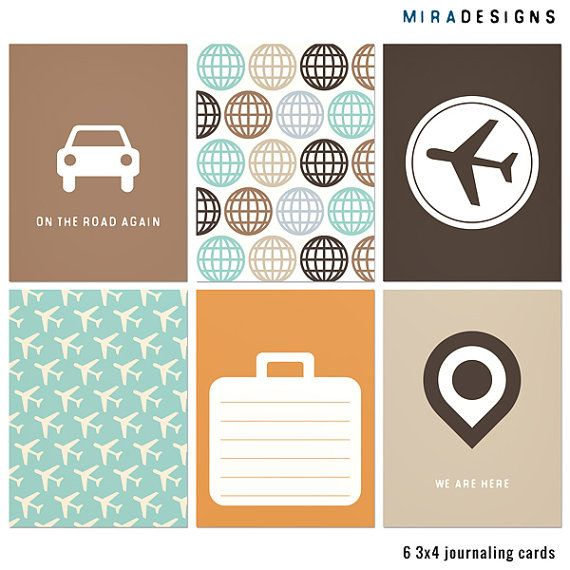 bon voyage journal cards instant printable