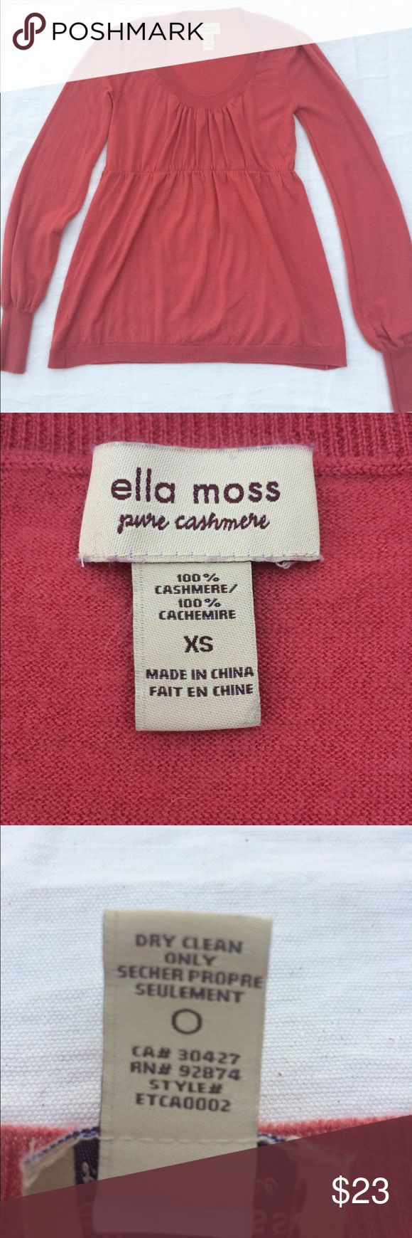Cashmere Ella Moss Melon Color Sweater XS Women's cashmere sweater with smocked bodice and ribbed cuffs. Ella Moss Sweaters Crew & Scoop Necks