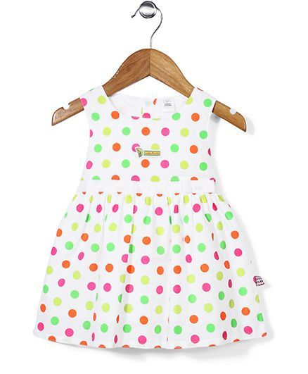 ToffyHouse Sleeveless Frock Polka Dot Print - White And Multi http://www.firstcry.com/toffyhouse/toffyhouse-sleeveless-frock-polka-dot-print-white-and-multi/706396/product-detail?sterm=polka