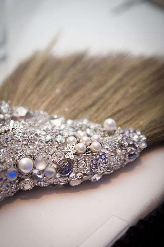 Wedding Broom -Brooch Bling 'The Sarah O' Bling Jumping Broom- Bling Broom