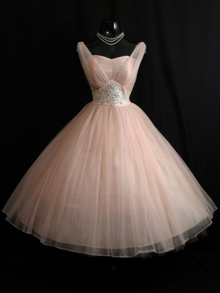Vintage 1950's Pink Beaded Ruched Chiffon Circle Skirt Dress.