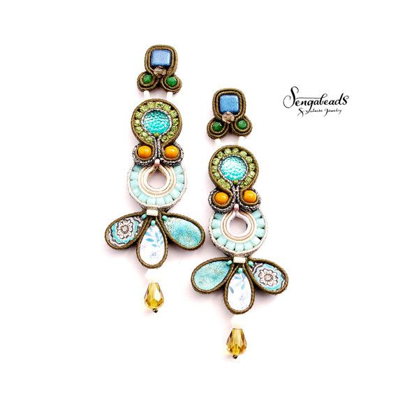 Large hand embroidered stud earrings in olive and от Sengabeads