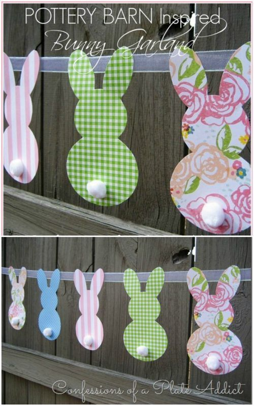 During seasons and holidays,  I just want to tape every page of the Pottery Barn Catalog to my walls for inspiration. Make these Pottery Barn Inspired Bunny banners – so easy and cute. More Spring & Easter Home Decor Ideas on Frugal Coupon Living.