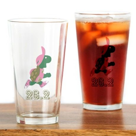 Turtle Runner 26.2 - pink Drinking Glass on CafePress.com