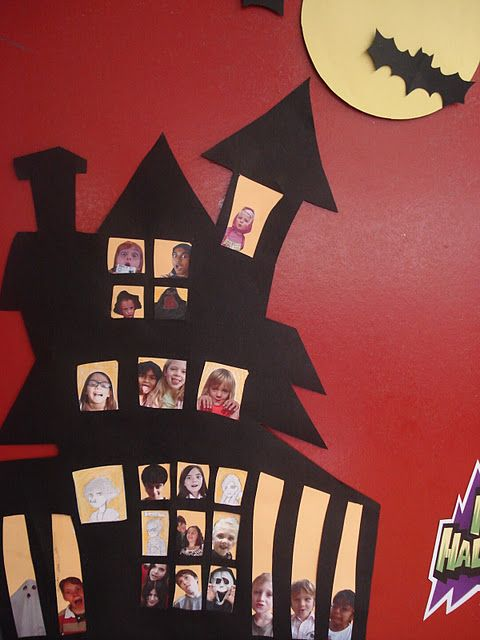 Love this Halloween house with pictures of the kids in the windows. It is a door decoration. Think this would be a cute bulletin board idea!