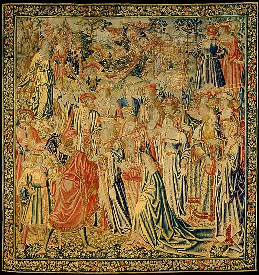 Perseus Rescues Andromeda tapestry.  16th C.  Metropolitan Museum of Art accession no. 65.181.16.  Vertically-striped legwear in blue and white on figure at top left, possibly språng.
