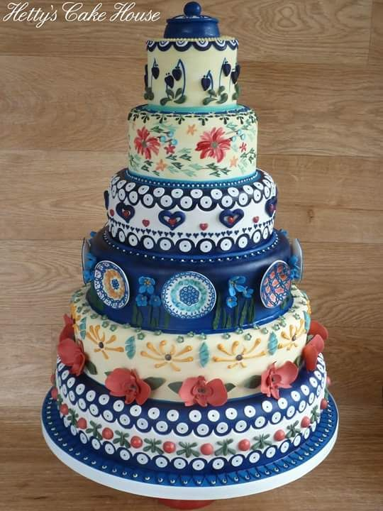 Polish Pottery inspired Wedding cake blue china