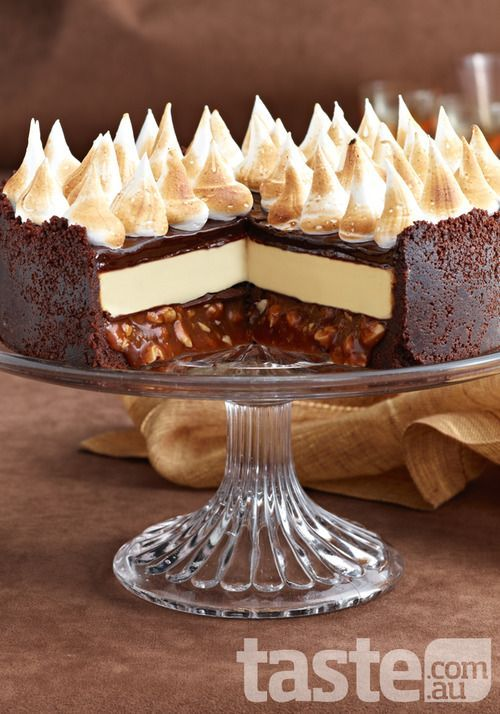 Triple-choc cheesecake with salted peanut caramel