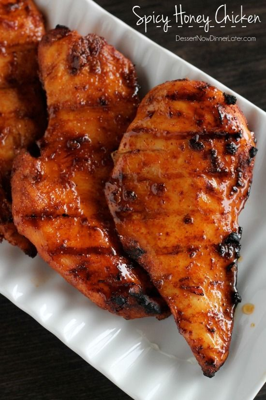 This Spicy Honey Chicken is marinaded in a southwest chipotle paste and then basted with a honey-vinegar mixture during the grilling process, for the perfect, crispy-sweet glaze!