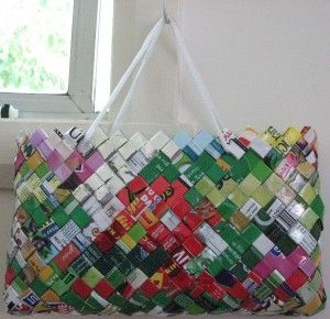 Make this bag from food wrappers or chip packets. http://thejunkwave.com/how-to-make-a-bag-from-food-wrappers-or-chip-packets/